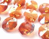 50 Iridescent  Pumpkin Chandelier Crystal Beads Octagon Crystal Shabby Chic Crystal Prisms 14mm Orange Halloween Autumn Colors Peach