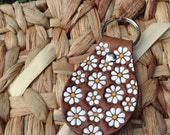 Embossed Daisies on a Leather Keyring