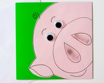 Greeting Card - Handmade Cute Pig Birthday Card - Blank Greeting Card