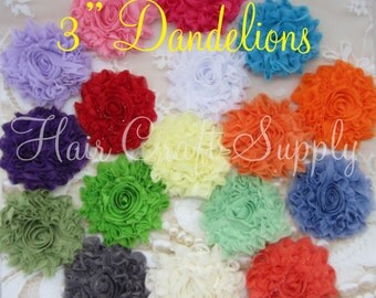 PACKAGE OF 10 Glitter Shabby Dandelion Flowers - 3 inch -for Headbands, Clips, Appliques for Clothing and more - choose colors on checkout