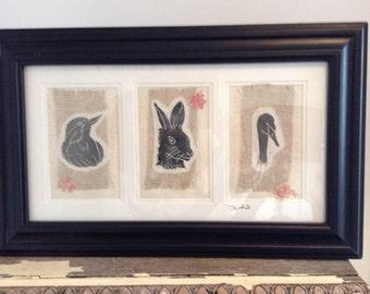 Hand printed textile art