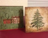 CHRISTMAS CARDS.  Handcrafted Mini Cards, Old Fashioned Feel, Acid-Free linen cardstock, Blank Inside