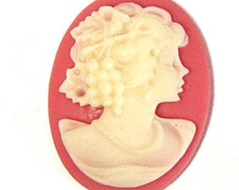 6 pcs of resin elegant lady cameo-RC0165-5-pink