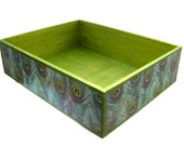 Peacock Box Crate - Wooden Nesting Tray - Decoupaged Storage Box