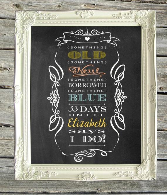 Wedding Chalkboard Ideas: Items Similar To Bridal Shower Chalkboard Print Sign