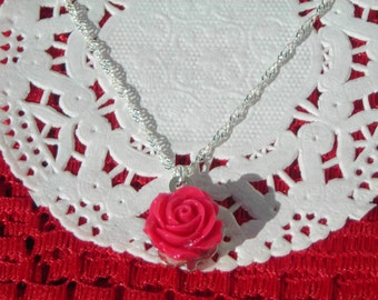 Gift for Her! Red petite ROSETTE pendant & 18 KGP silver plated torsated delicate chain.