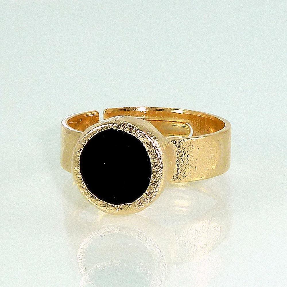 Black Onyx Ring Stacking Onyx Ring Black Gold By Inbalmishan