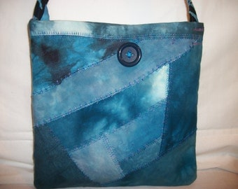 Quilted Handbag Purse Messenger Bag with Pockets - Batik Hand Dyed Fabric - Patchwork