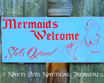 Lg. Custom Color 'Mermaids Welcome' Beach Decor - Hanging Aged Sign Plaque - Hand-Painted