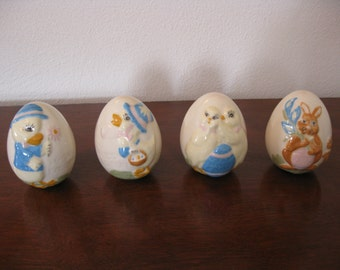 Vintage Easter Eggs Ceramic Unusual Set of Four Hand Painted Rabbits Ducks Chicks