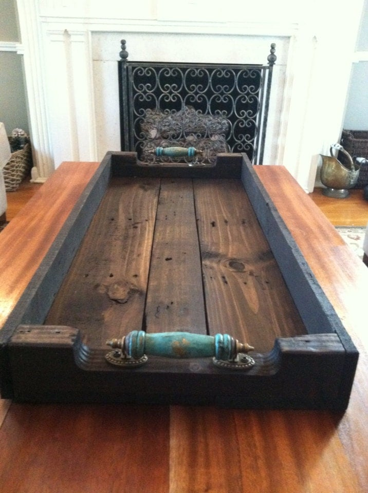 Large Reclaimed Dark Stained Pallet Wood Serving Tray Shoe