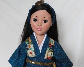American Girl, Japan, Kimono, 18 Inch Doll Clothes, Blue, Gold, Red & White, Headband, Belt