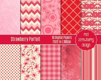 75% OFF Sale - Strawberry Parfait - 10 Digital Papers - Instant Download - JPG 12x12 (DP121)