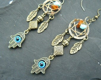 hamsa hand evil eye dreamcatcher earrings turquoise and amber in Moroccan tribal Indie new age boho hippie belly dancer and hipster style