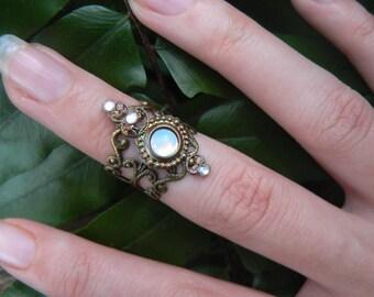 knuckle ring armor ring midi ring nail ring claw ring nail tip ring white opal ring vampire goth victorian moon goddess pagan boho gypsy