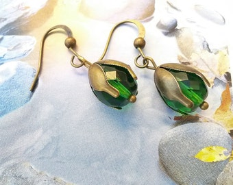 Emerald green earrings bridesmaid gift,Art Deco green earrings,Czech glass earrings with brass tulip caps,Brass Art  Nouveau drop earrings