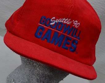 Vintage Red Corduroy 1990 Seattle Goodwill Games Hat