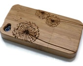 wooden Iphone 4 case / iphone 4S case - wood iphone 4 case bamboo, cherry and walnut wood - Dandelion - laser engraved