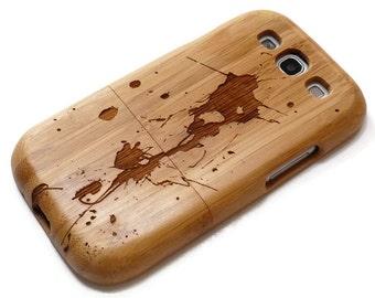 Samsung Galaxy S3  case - wooden S3 case walnut / cherry or bamboo -  Paint splash