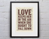 Love Keeps Her In The Air When She Ought To Fall Down  - Quote Firefly Browncoat Serenity Dictionary Page Book Art Print - DPQU120 - WhiskerPrints