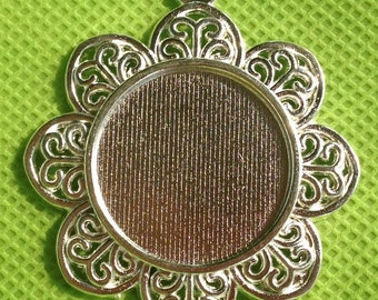 Silver Pendant Tray 25mm,1 inch Bezel Pendant,flower edge Jewelry Supply, Cameo Setting 25mm Pendant Tray blanks - 20 pcs