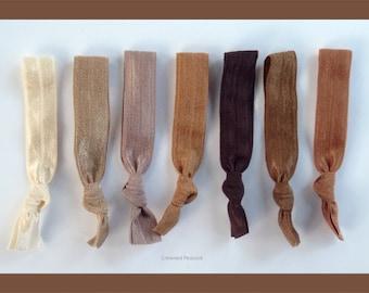 7 Elastic HAIR TIES beige, light tan, lt brown sand colors, No Tug, Dent - Yoga Hair Tiies