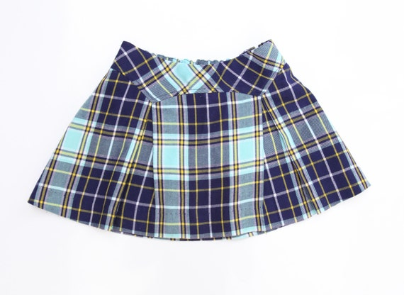 great vintage blue and yellow plaid skirt 4 5 by