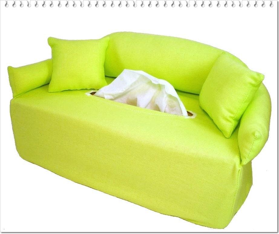 Lime Green Handkerchief Sofa Handmade Tissue Box Cover