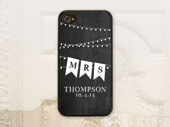 Bride Chalkboard phone case iPhone 4 4s 5 5s Galaxy S3 S4 case Bride to be Bunting Mrs, Custom Chalkboard B4072