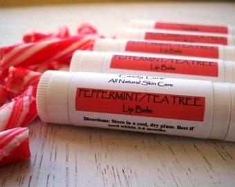 Peppermint Lip Balm Natural Beeswax Shea Butter Lip Balm .15oz