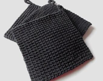 Pot Holder - Hot Pad - Trivet - Black - Handmade Crochet - Made to Order