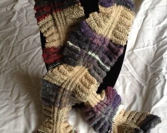 Multi-colored ruffle edged scarf