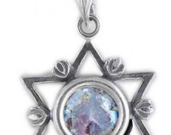 Exclusive 925 Sterling Silver Pendant, Ancient Roman Glass Pendant, Star Of David, Judaica, Unique Jewelry