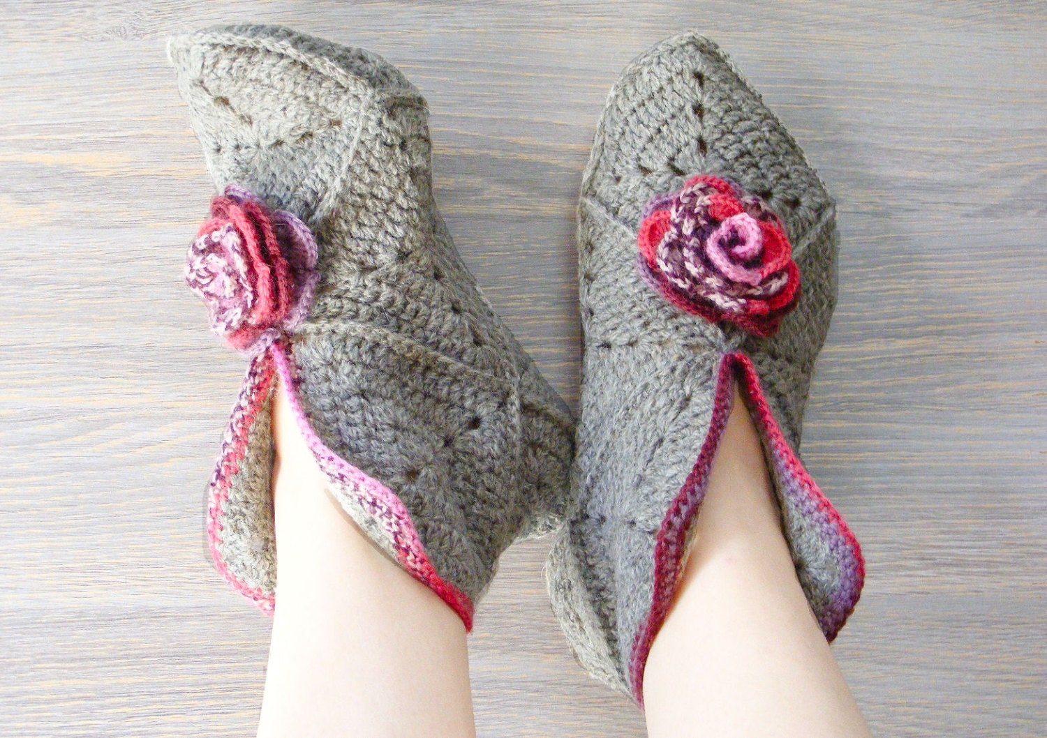 Crochet Granny Square Slipper Pattern : Womens slippers wool crochet slippers granny square