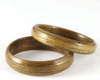 Wood Wedding Ring Set - Indian Silver Greywood Wood Rings