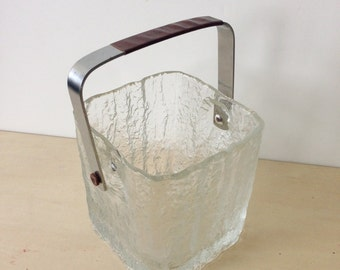 Hoya Crystal Ice GlassTextured Ice Bucket with Stainless Handle and Leather Trim