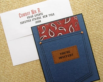 Western themed Jean Pocket invitation