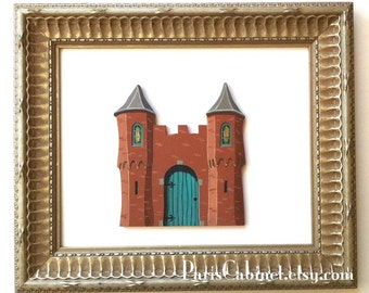 Castle Hand Painted Turrets Crenellation Tower Miniature Art Carmel California Fairy Door Art Acrylic Painting on Wood by Paris Cabinet