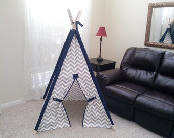 Chevron Teepee with Solid Sleeves 3 Foot Base Size .Tent play fort Made to Order Gray Chevron Navy Sleeves