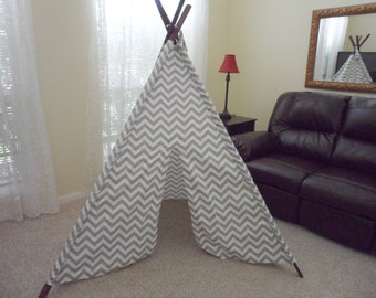 Teepee Gray Chevron Tent with Stained Poles Large size or Pick your color Tepee Made to Order Tents