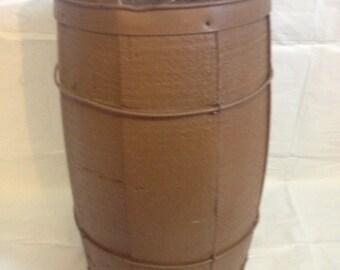 Brown Wooden Barrel Antique Plant Pot
