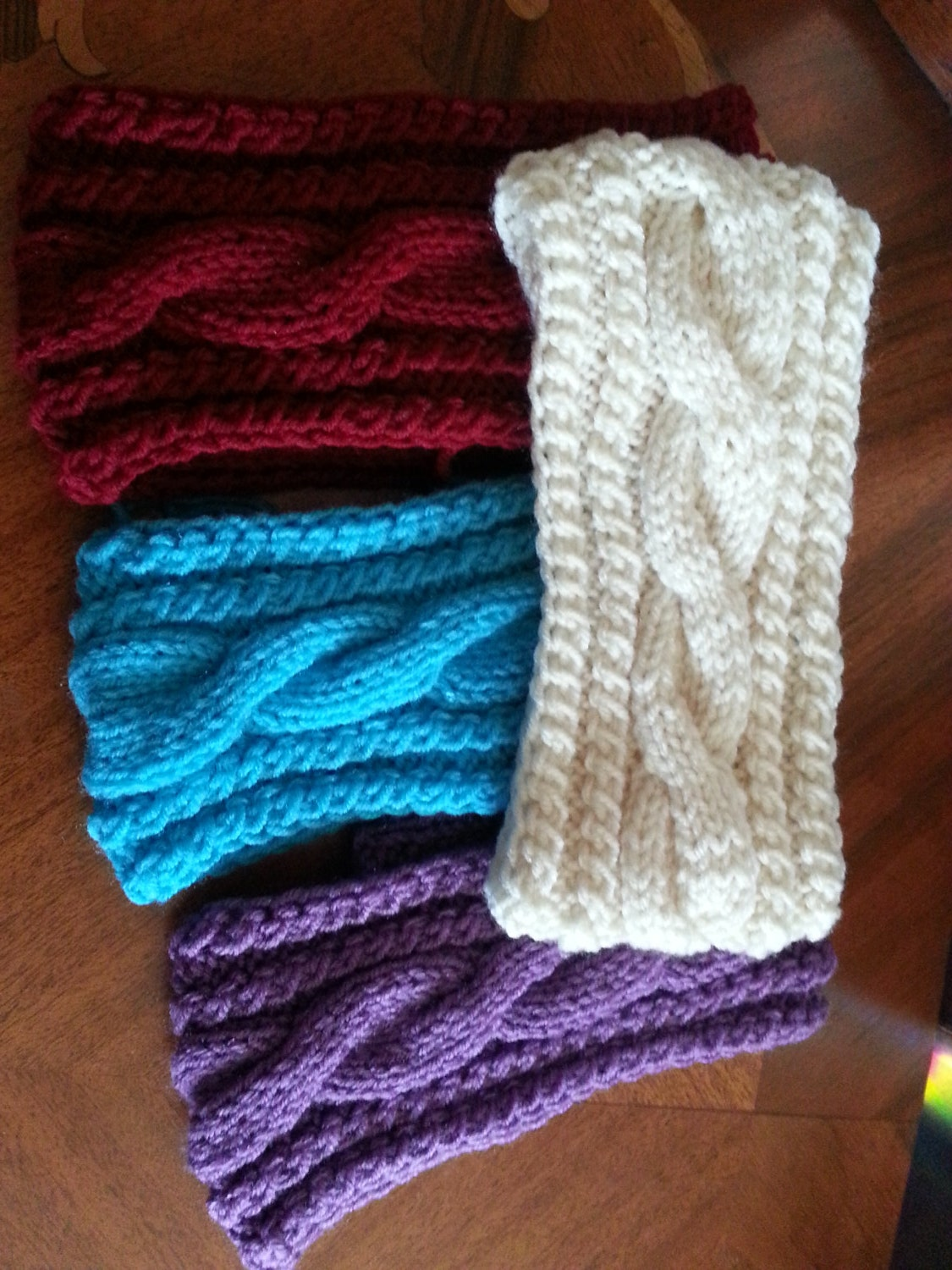 Knit Headband Pattern Button Closure : Cable Knit Headband Ear Warmer with button for by MagicWoolBall