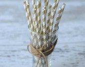 20 Gold Striped Drinking Paper Straws Birthday Party Straws Wedding Decor Baby Shower supplies Candy Buffet Mason Jar Decor