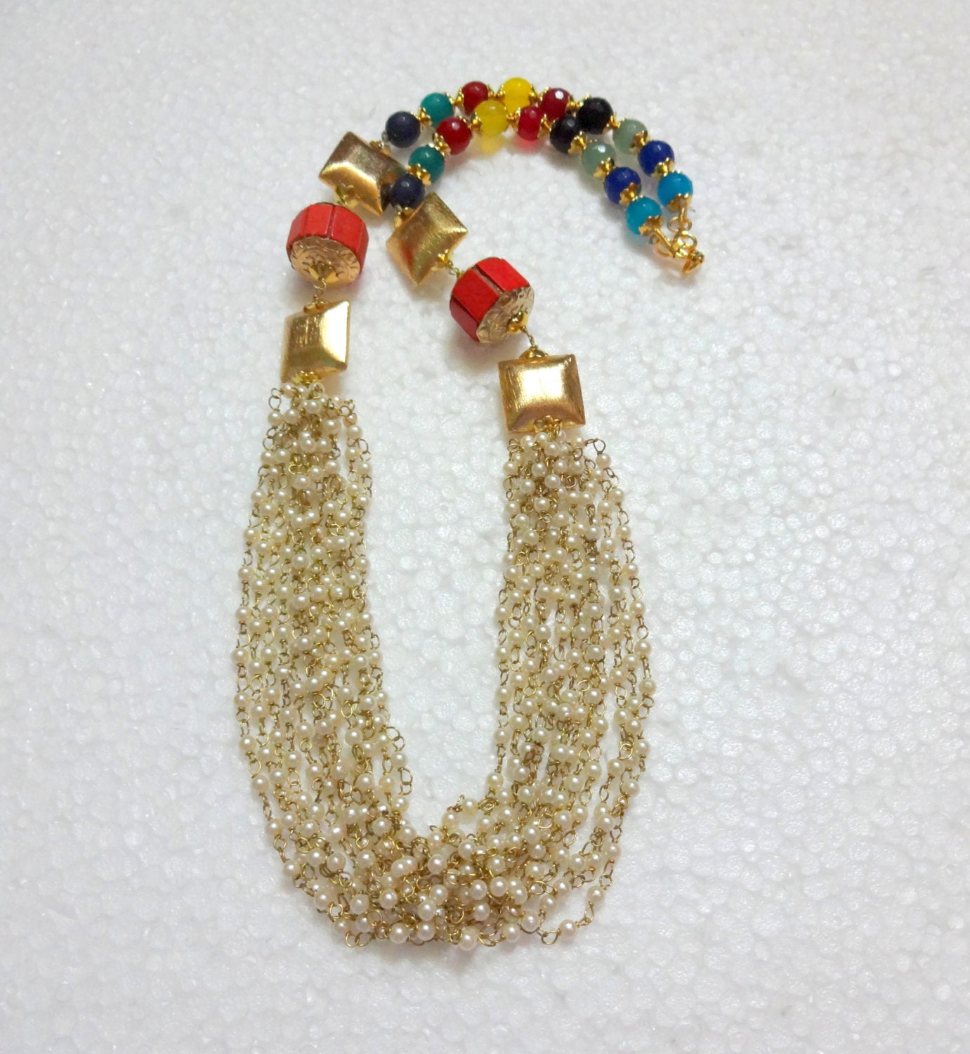 indian ethnic beaded necklace with jaipur multicolour