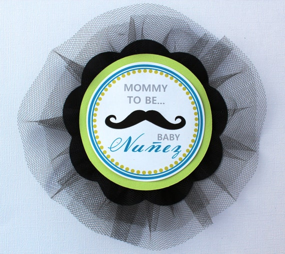 Baby Shower Mustache Theme: Items Similar To Mustache Theme Baby Shower Corsage On Etsy