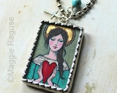 Listing Exclusively for TAMMY ~ Angel Heart Soldered Pendant Necklace from original painting by Maggie Raguse;