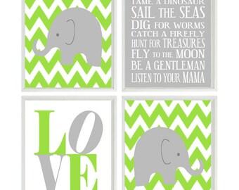 Nursery Art Elephant Chevron Baby Boy Nursery Prints, Gray Lime Green  Wall Art  Love -  Nursery Decor Playroom Rules Quote -