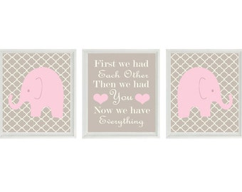 Elephant Nursery Art Print Set  -  Tan Pink Decor Quatrefoil  - First We Had Each Other Quote - Modern Baby Girl Room - Wall Art Home Decor