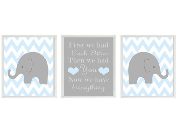 elephant nursery art print set chevron baby blue gray decor first we had each - Etsy Baby Room