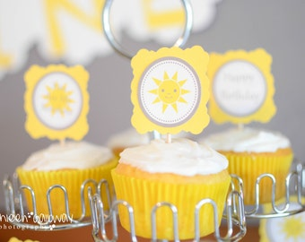 You Are My Sunshine Cupcake Toppers- Yellow & Grey (12)